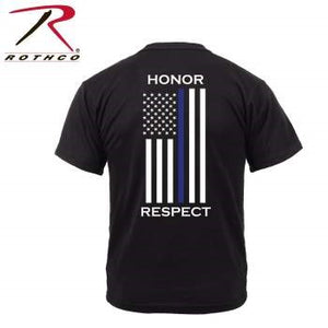 Honor and Respect 2-Sided Thin Blue Line Flag T-Shirt - Black