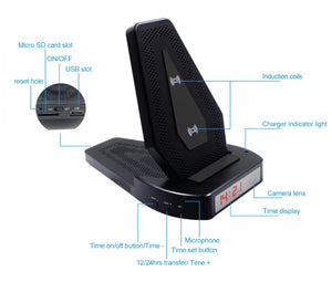 WIRELESS PHONE CHARGER WITH WIFI DVR CAMERA