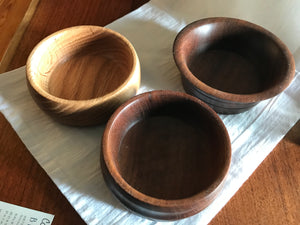 Small, turned wood bowls