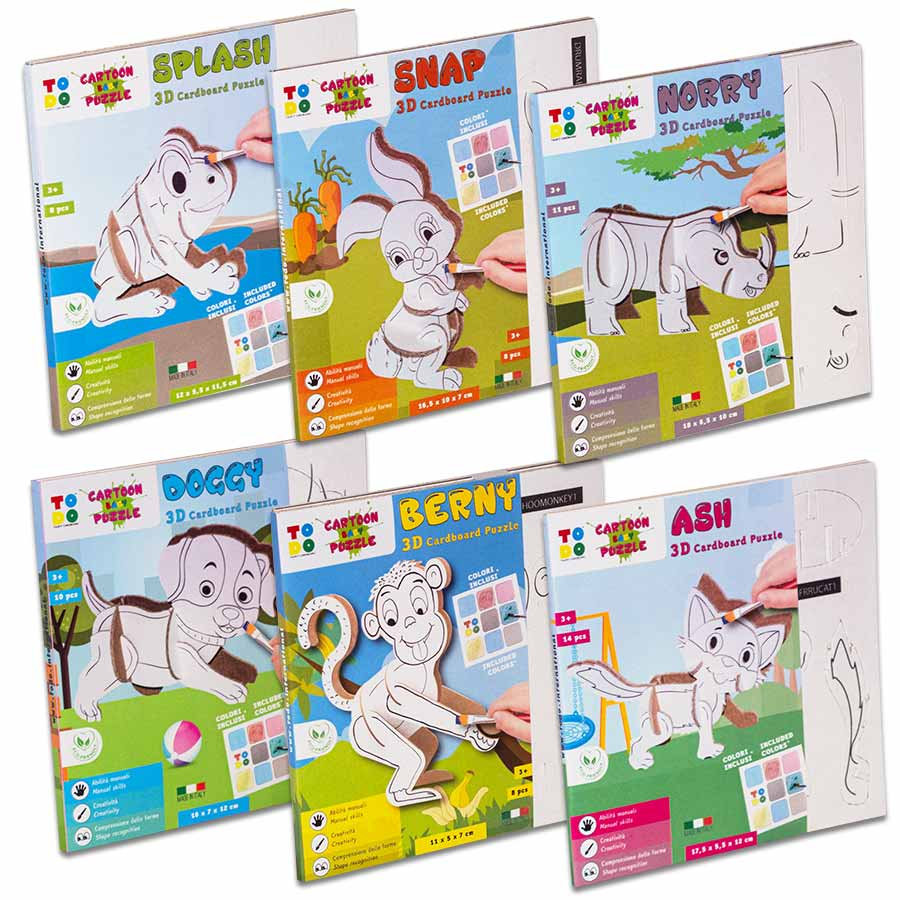 Kit Cartoon Baby Puzzle composto da n.6 animaletti