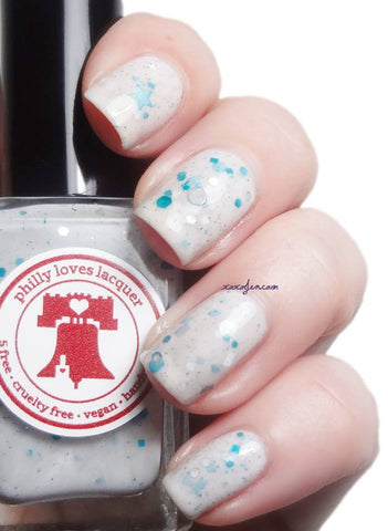 Bird Gang Eagles Nail Polish I-G-G-L-E-S! White Glitter Crelly