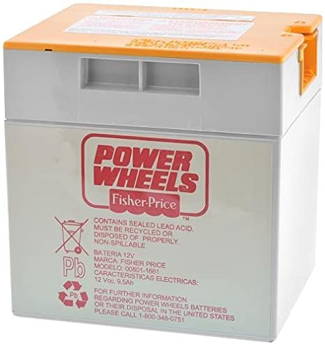 Fisher Price Power Wheels 12V 9.5AH Grey Orange Top Battery - BRS Toy Battery
