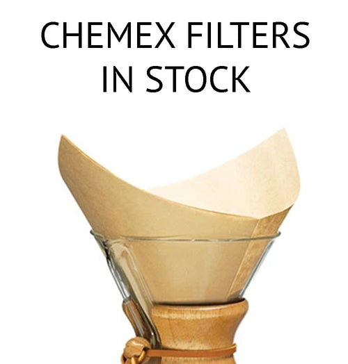 Chemex Filters are in Stock.  Chemex Coffee Filters come in several varieties, all specifically made for use with Chemex brand pour over coffee makers.  Filters come in folded and unfolded, bleached and natural.