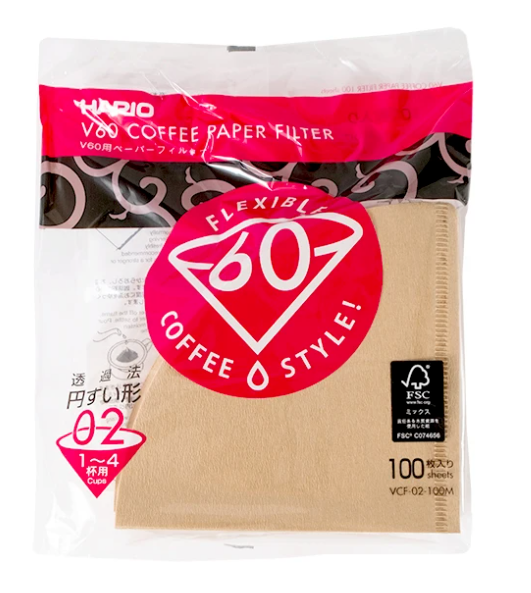Hario V60-02 Paper Filters for Manual Brew Pourover- 100pk