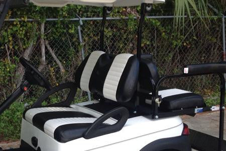 BLACK W/ WHITE PLEATS Club Car DS 3pc Front Seat Covers