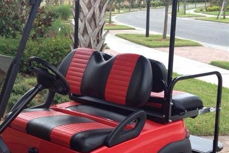 A BLACK W/RED PLEATS Club Car Precedent Front Seat Covers