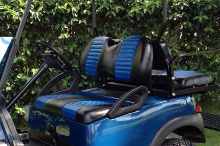 A BLACK W/ FACTORY BLUE PLEATS Club Car Precedent Front Seat Covers