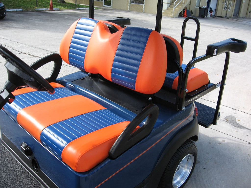 ORANGE WITH BLUE PLEATS FRONT COVERS FOR CLUB CAR PRECEDENT GATORS