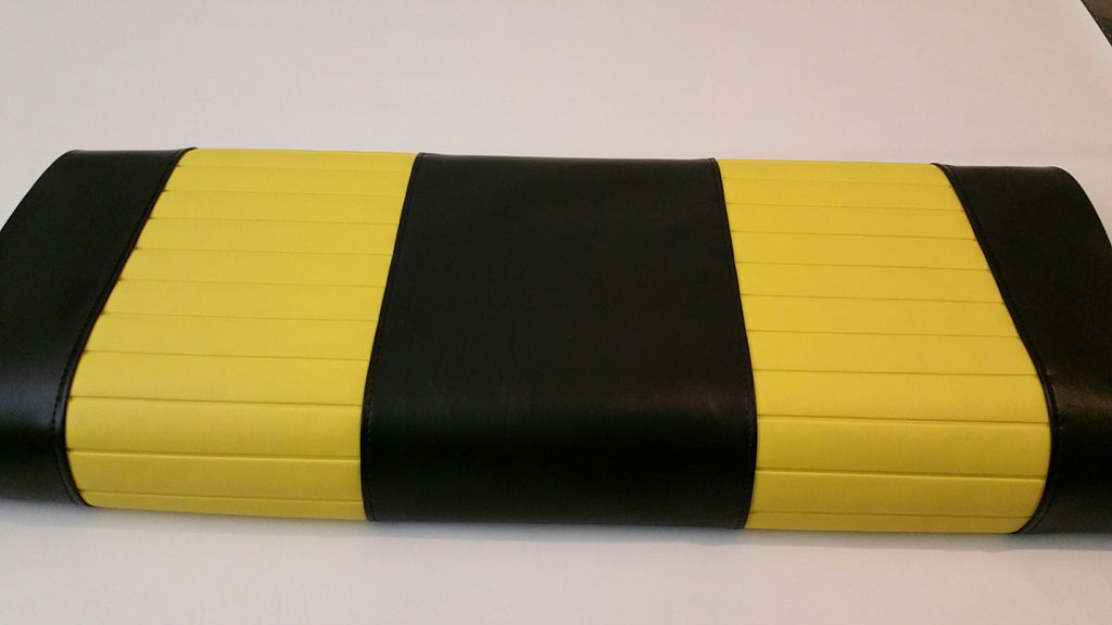 BLACK WITH YELLOW PLEATS CLUB CAR DS 3pc FRONT COVERS