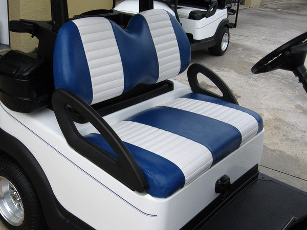 BLUE W WHITE PLEATS Club Car DS 3pc Front Seat Covers
