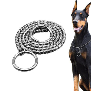 Silver Stainless training Collar Snake Chain Pet Leash