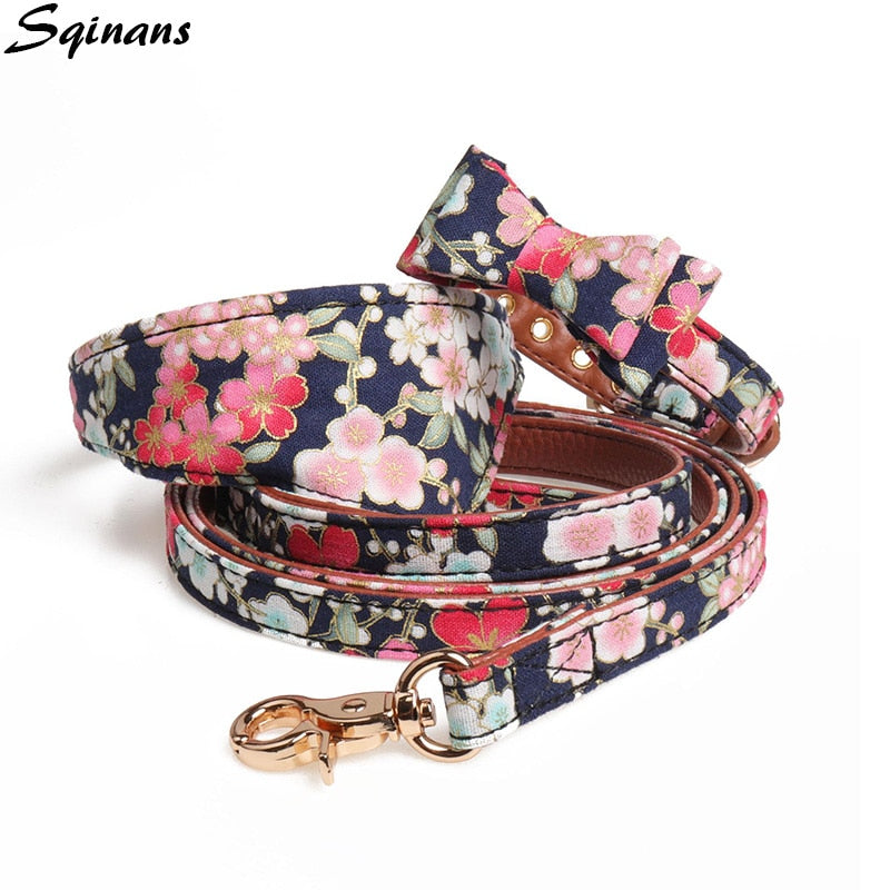 Super stylish Sqinans Japanese leather Collar and Leash Set