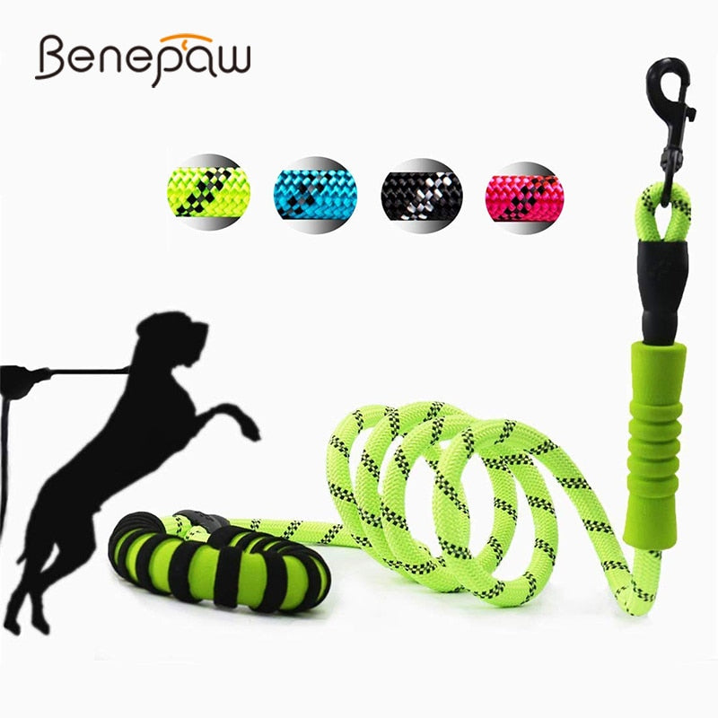 Strong Dog Leash Reflective Comfortable Padded Double Handles Non-slip Training Pet Leash Anti Tangle