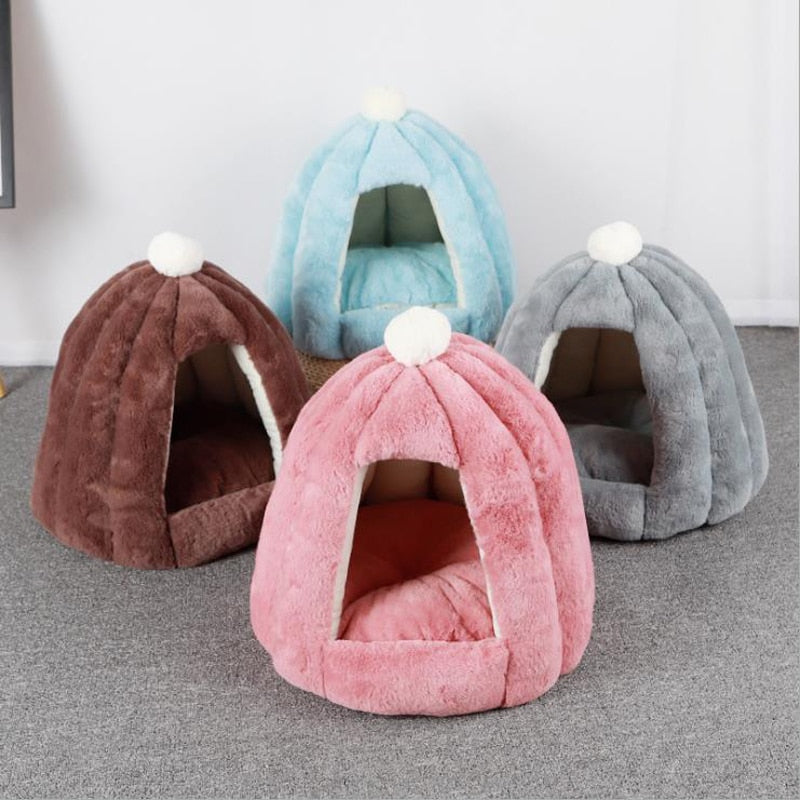 Cat house in winter warm enclosed