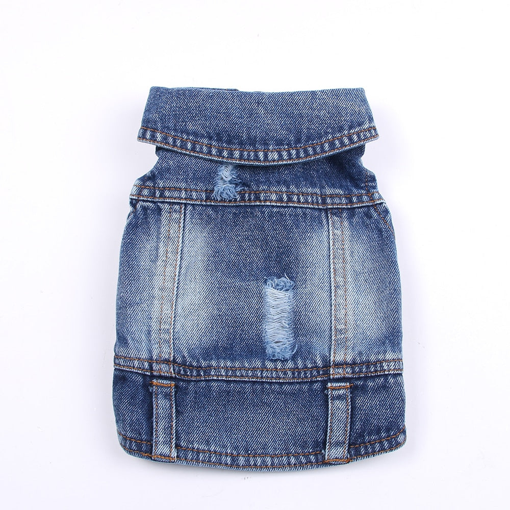 Pet Dog Jeans Jacket New Cute Face Blue Denim Coat Vest