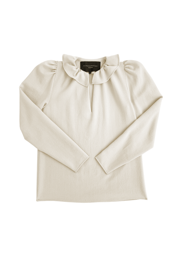 Blouse with ruffled collar in créme wool crepe