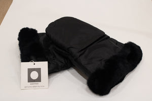genuine rabbit fur trim stroller mitten