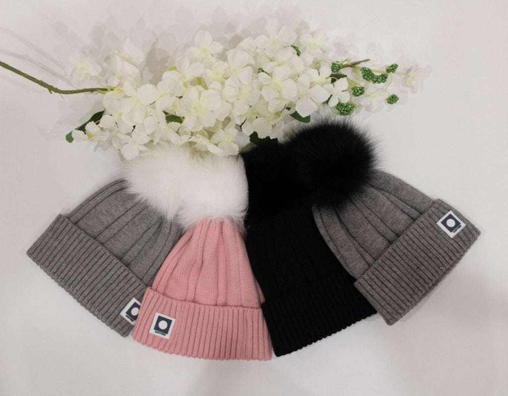 genuine fox fur pom pom hat
