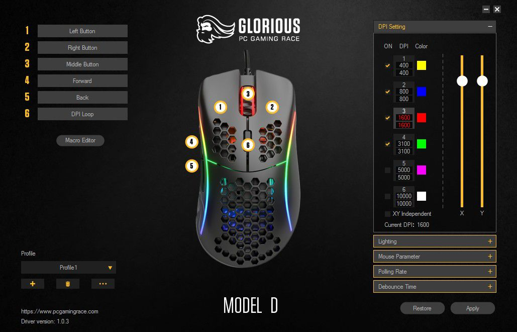 Glorious Model D Gaming Mouse Software