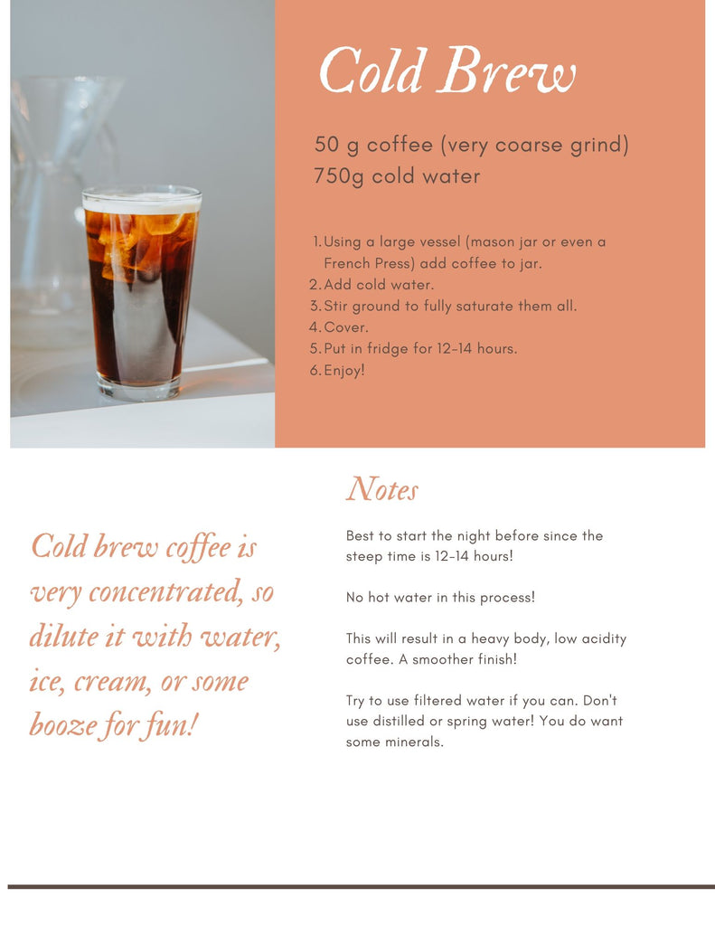 cold brew directions with pint glass of coffee with ice cubes