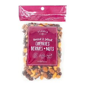 ferris nuts, 8-ounce, roasted salted cherries berries and nuts mix