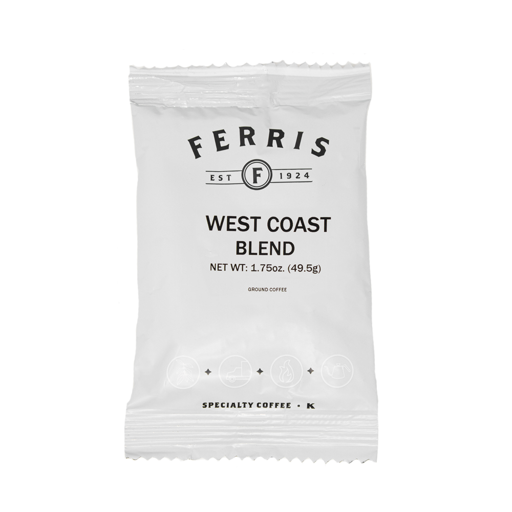 ferris coffee, 1.75-ounce nitro flushed ground coffee, west coast blend