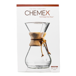 chemex glass brewing device, filter drip coffeemaker, box