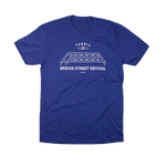 ferris coffee unisex tee, bridge street revival, royal blue