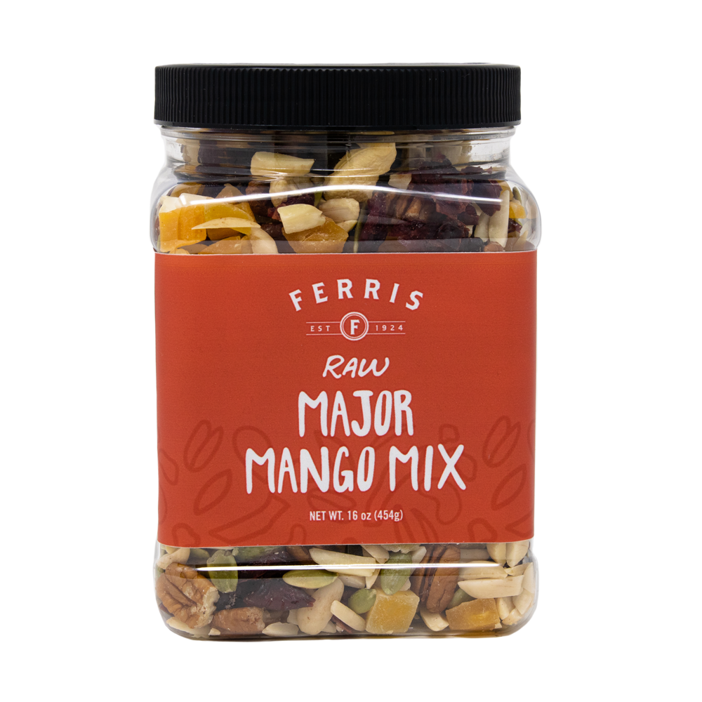 ferris nuts, 16-ounce plastic jar, raw major mango