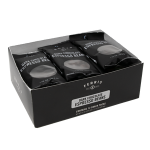 ferris chocolate, box of 12 grab and go packages, dark chocolate espresso beans