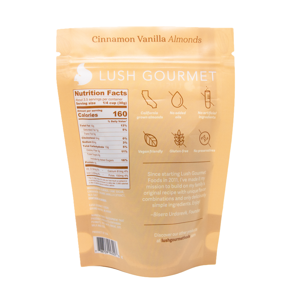 lush gourmet, 3.85-ounce cinnamon vanilla almonds back packaging
