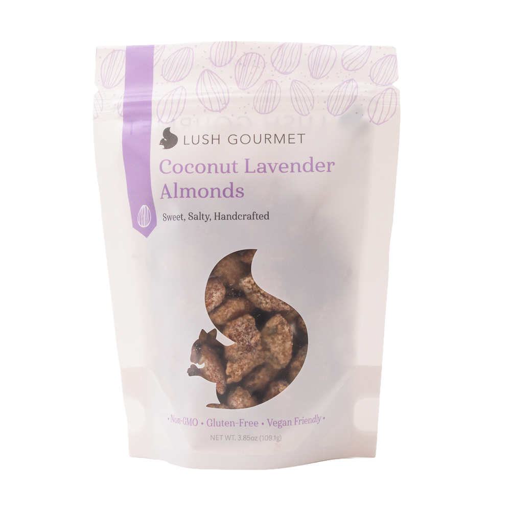lush gourmet, 3.85-ounce coconut lavendar almonds