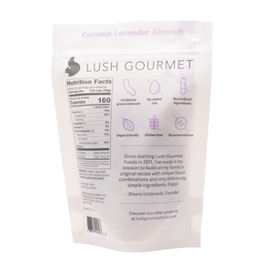 lush gourmet, 3.85-ounce coconut lavendar almonds back packaging