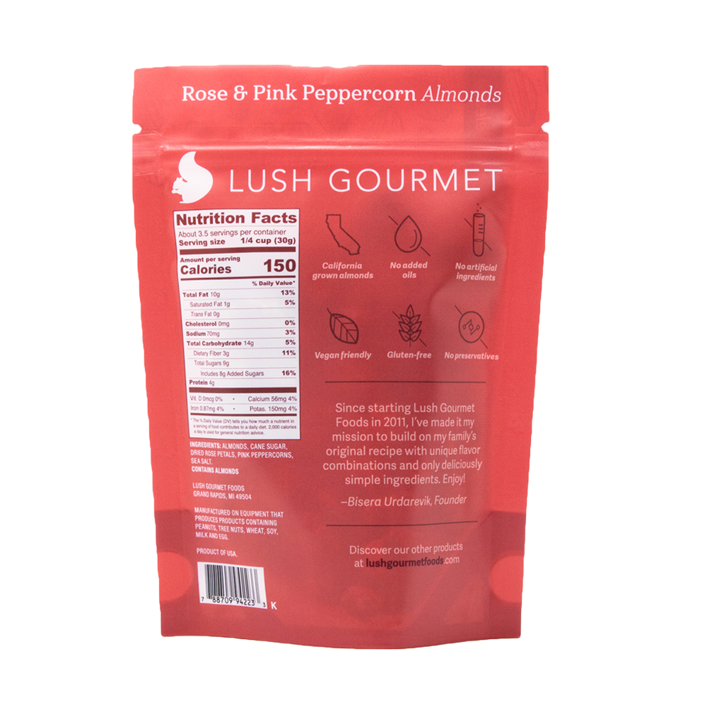 lush gourmet, 3.5-ounce, rose and pink peppercorn almonds back packaging