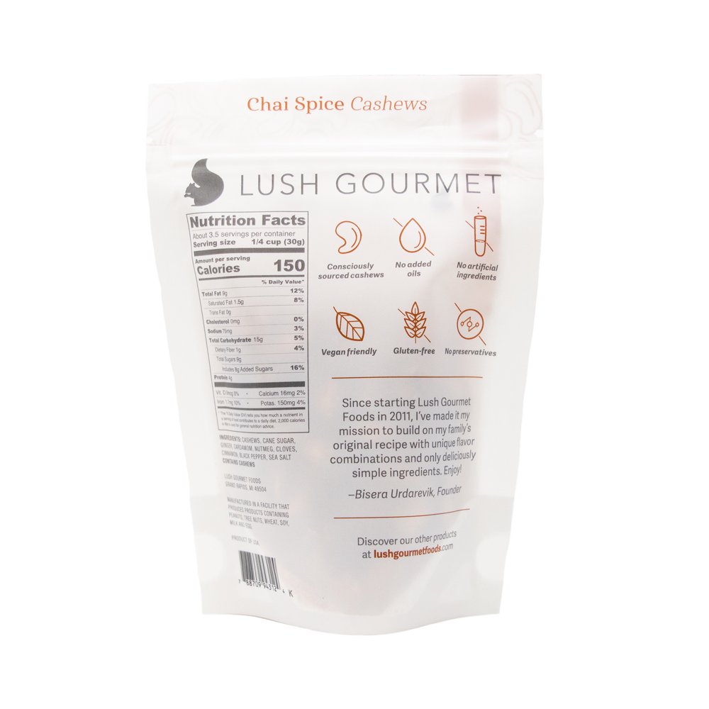 lush gourmet, 3.85-ounce chai spice cashews back packaging