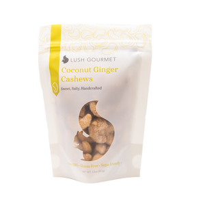 lush gourmet, 3.5-ounce, coconut ginger cashews