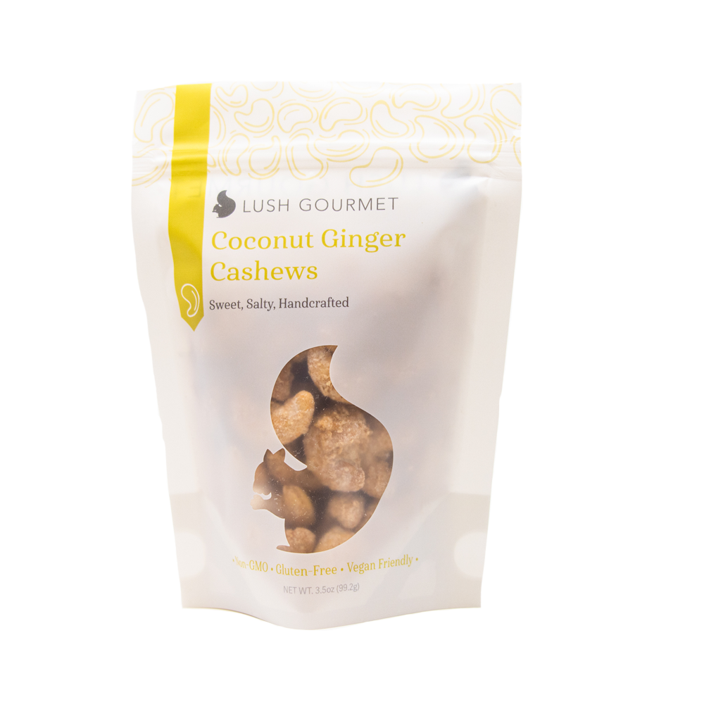 lush gourmet, 3.85-ounce, coconut ginger cashews