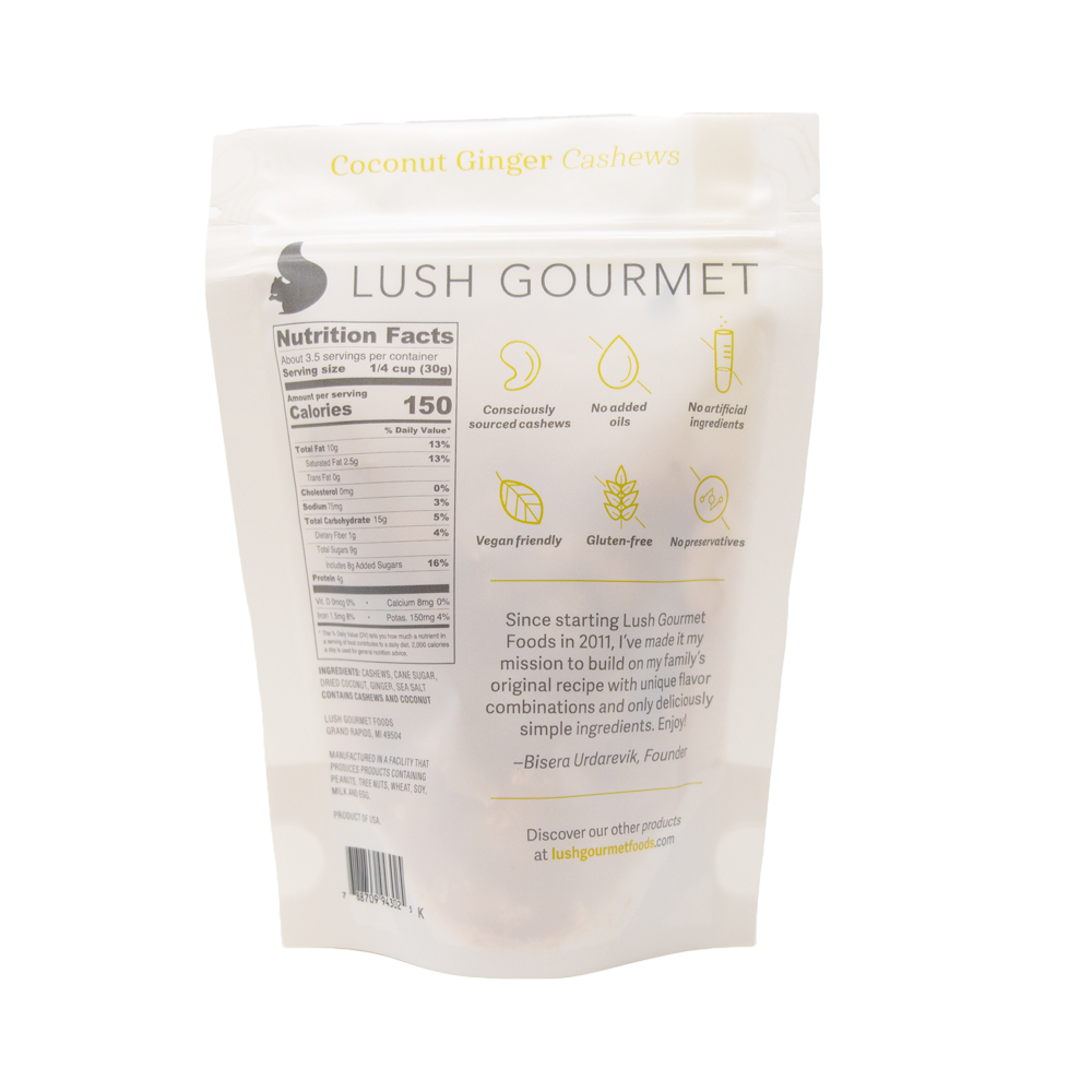 lush gourmet, 3.5-ounce, coconut ginger cashews back packaging