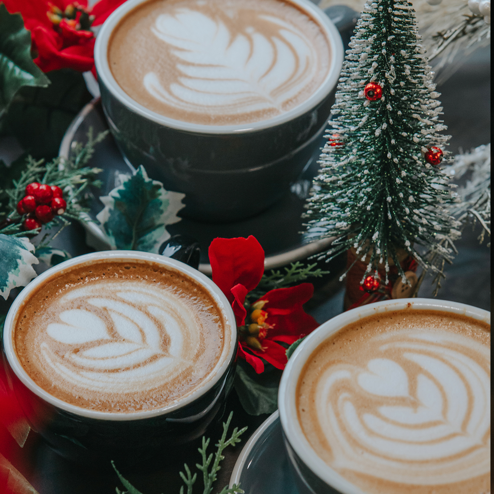 three cups of lattes surrounded by christmas decor