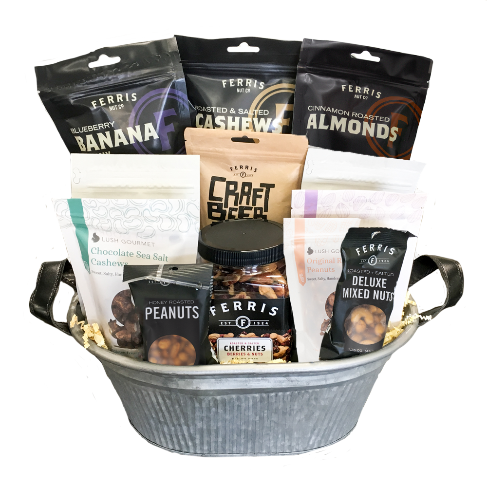 various ferris product bundle in grey tin basket