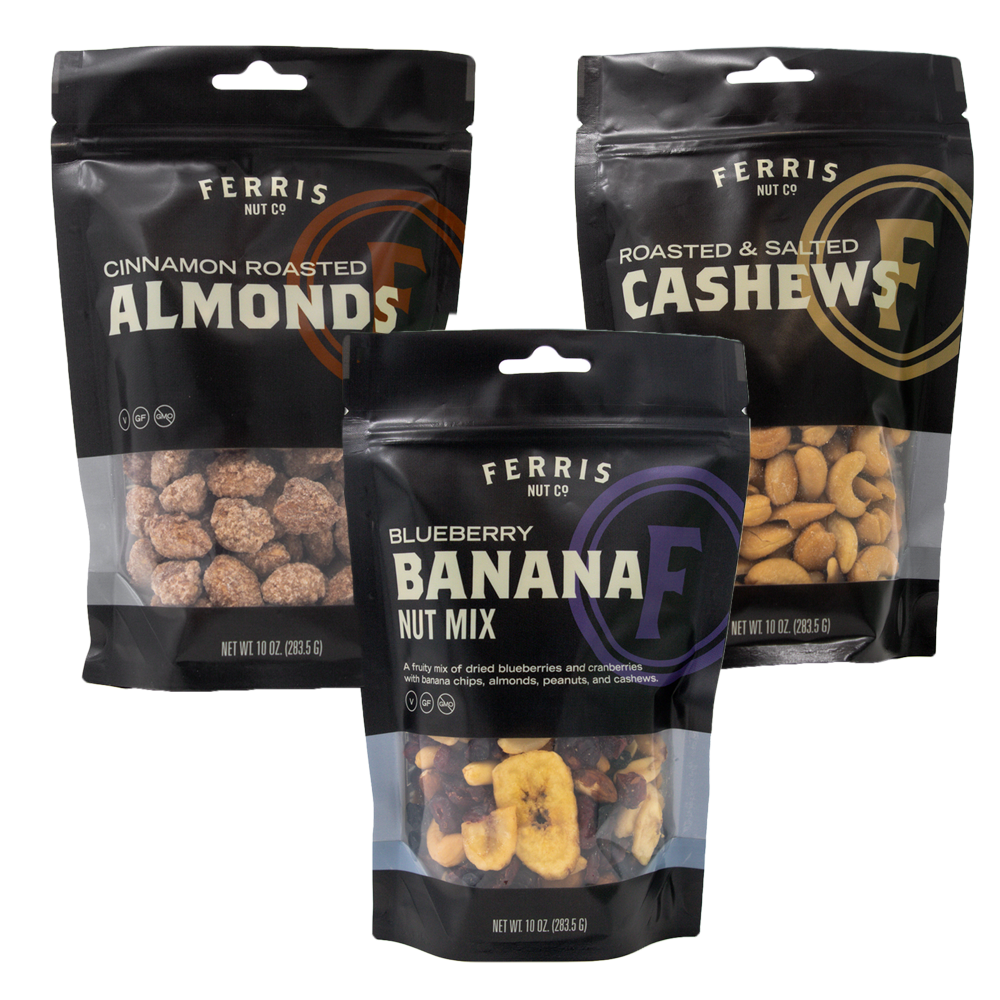 ferris nuts, 10-ounce packages of cinnamon roasted almonds, roasted salted cashews, blueberry banana nut mix