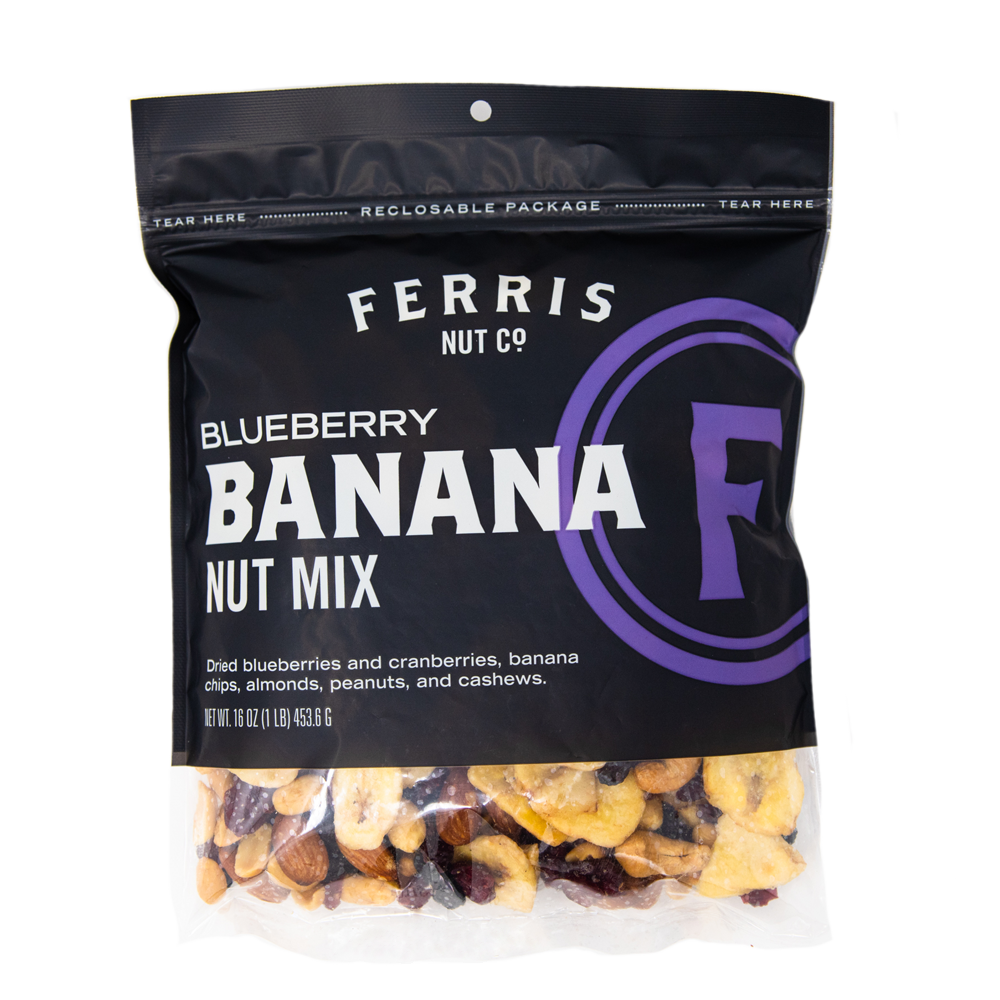 ferris nuts, 16-ounce bag, blueberry banana nut mix