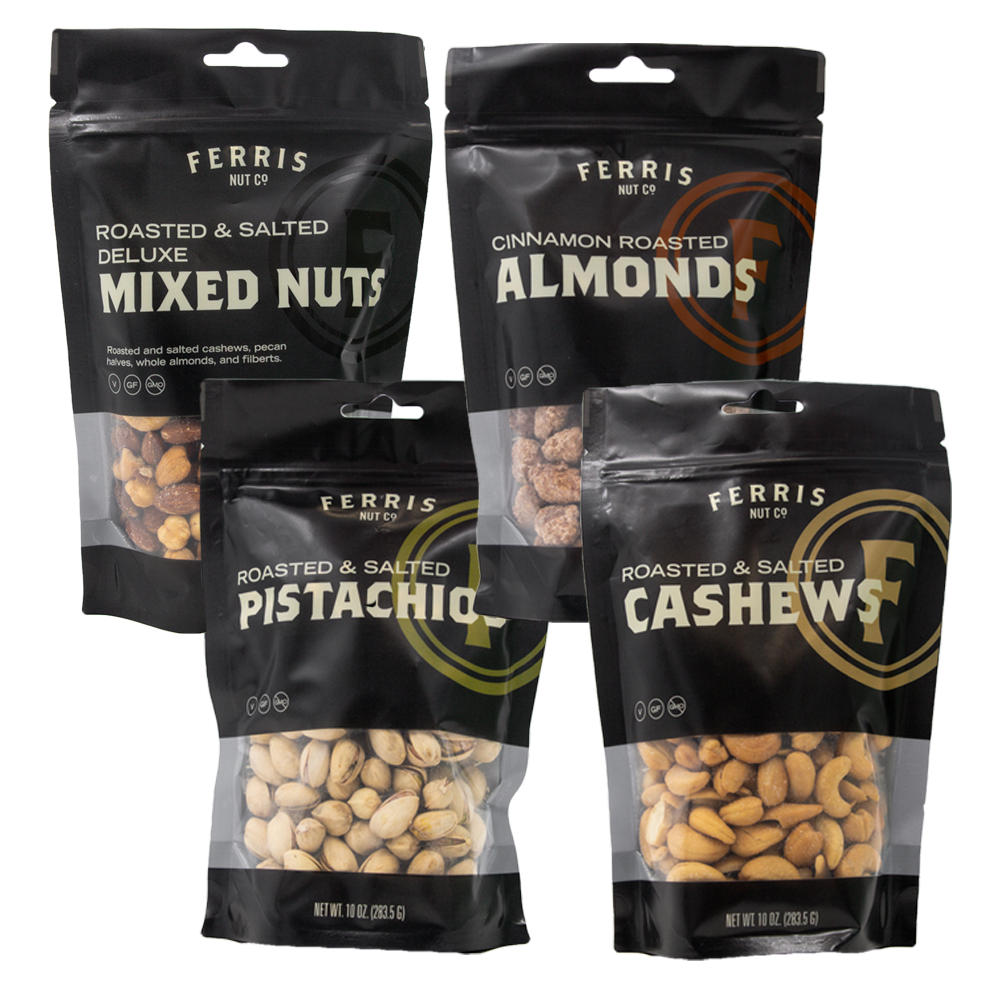 ferris nuts, 10-ounce classics: deluxe mixed nuts, cinnamon roasted almonds, roasted salted pistachios, roasted salted cashews