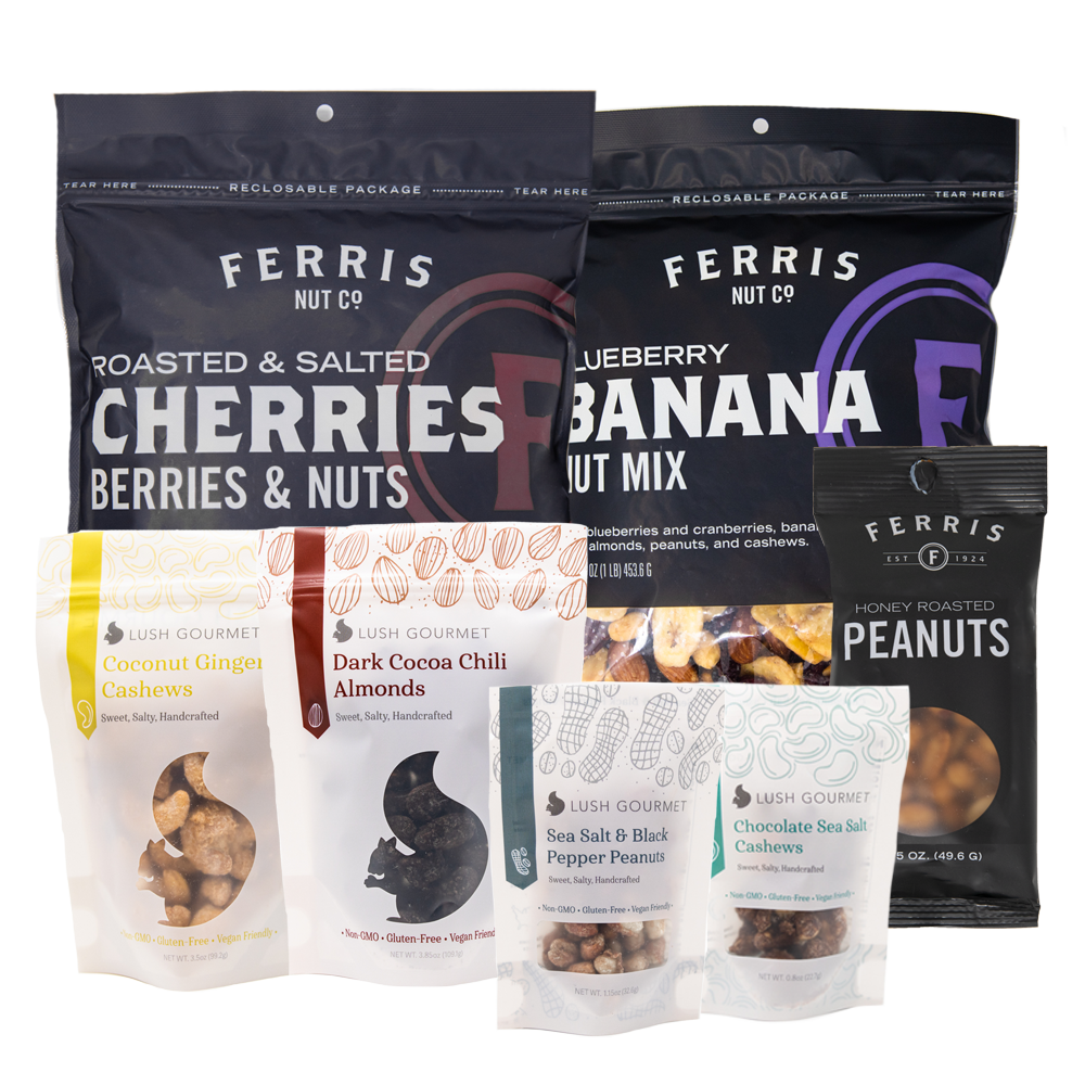 10-ounce ferris nuts cherries, berries and nuts, 10-ounce ferris nuts blueberry banana nut mix, 3.85-ounce lush gourmet coconut ginger almonds, 3.85-ounce lush gourmet dark cocoa chili almonds, lush mini sea salt and black pepper peanuts, lush mini chocolate sea salt cashews