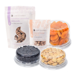 bundle of lush gourmet coconut lavendar almonds, original peanuts, dried aprictos, dried michigan cherries, marcona almonds