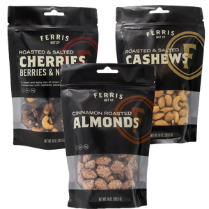 10-ounce ferris roasted salted cherries berries and nuts, cashews, and cinnamon roasted almonds