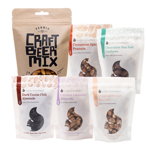 6-ounce craft beer mix, lush gourmet products include cinnamon roasted peanuts, chocolate sea salt cashews, dark cocoa chili almonds, coconut lavender almonds, original peanuts