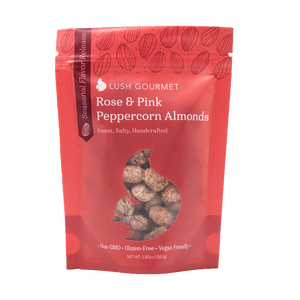 lush gourmet, 3.5-ounce, rose and pink peppercorn almonds