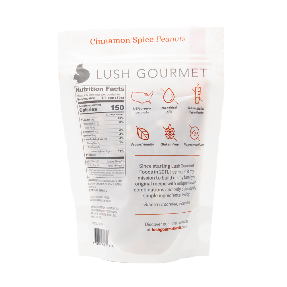 lush gourmet, 4.65-ounce, cinnamon spice peanuts back packaging