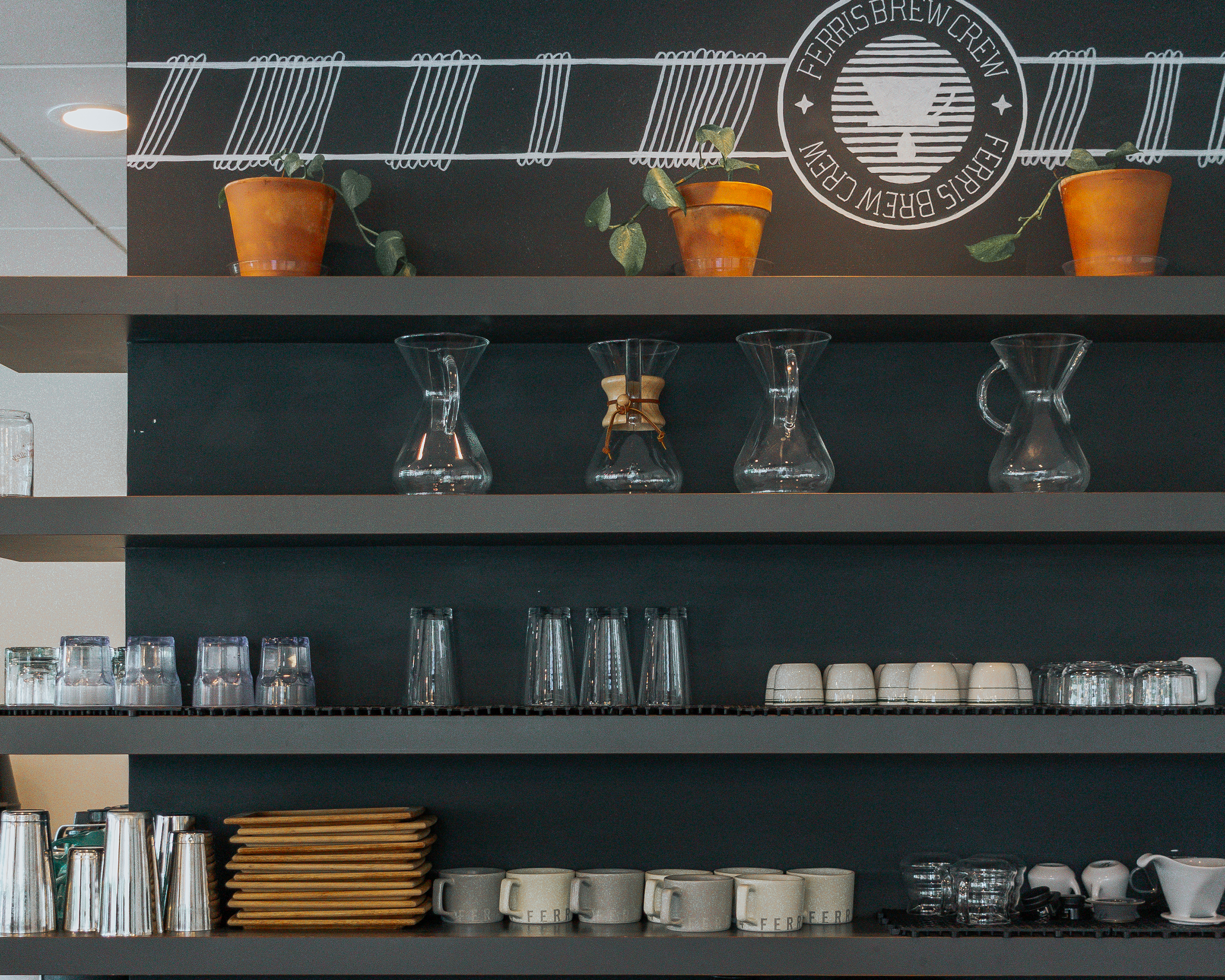 shelves of coffee equipment